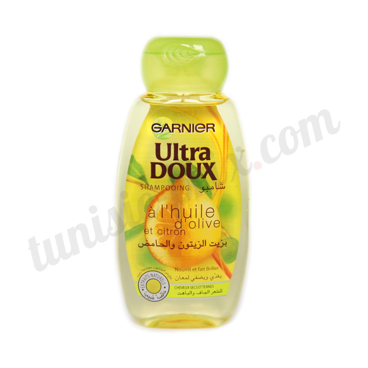 shampooing ultra doux garnier l 39 huile d 39 olive et citron tunisie. Black Bedroom Furniture Sets. Home Design Ideas