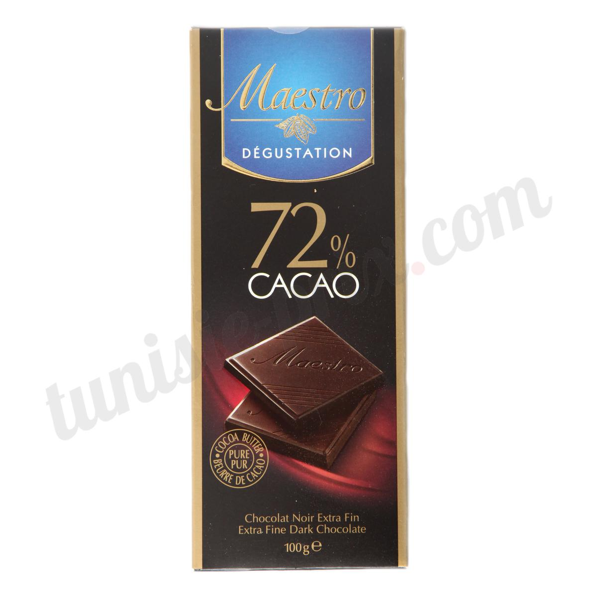 chocolat noir 72 cacao maestro 100g tunisie. Black Bedroom Furniture Sets. Home Design Ideas